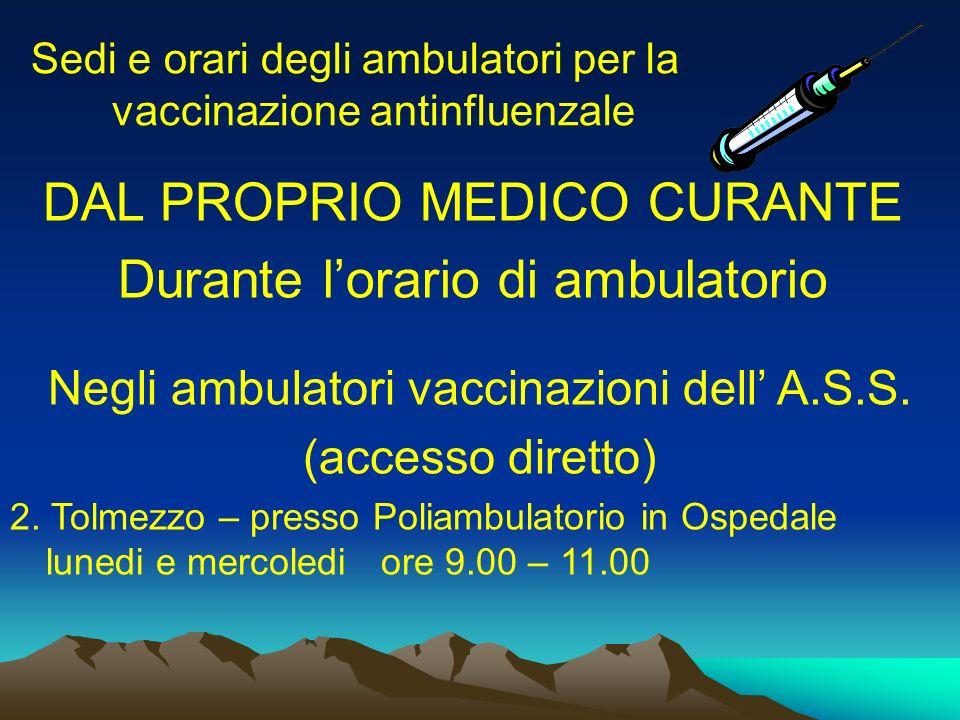Sedi e orari degli ambulatori per la vaccinazione antinfluenzale DAL PROPRIO MEDICO CURANTE Durante lorario di ambulatorio Negli ambulatori vaccinazio