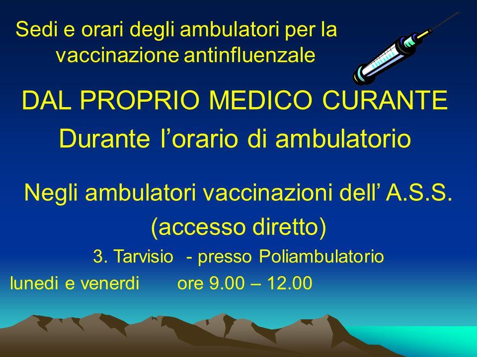 Sedi e orari degli ambulatori per la vaccinazione antinfluenzale DAL PROPRIO MEDICO CURANTE Durante lorario di ambulatorio Negli ambulatori vaccinazioni dell A.S.S.
