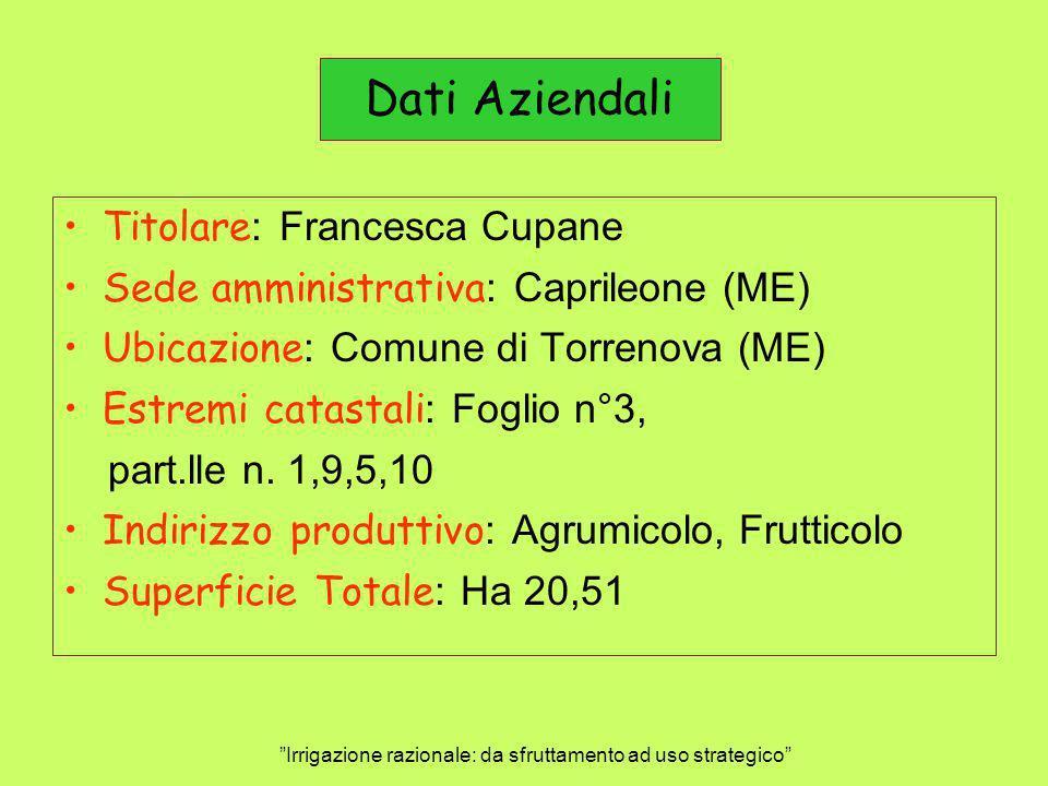 Dati Aziendali Titolare : Francesca Cupane Sede amministrativa : Caprileone (ME) Ubicazione : Comune di Torrenova (ME) Estremi catastali : Foglio n°3,