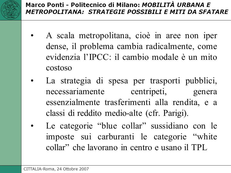 CITTALIA-Roma, 24 Ottobre 2007 Marco Ponti - Politecnico di Milano: MOBILITÀ URBANA E METROPOLITANA: STRATEGIE POSSIBILI E MITI DA SFATARE A scala metropolitana, cioè in aree non iper dense, il problema cambia radicalmente, come evidenzia lIPCC: il cambio modale è un mito costoso La strategia di spesa per trasporti pubblici, necessariamente centripeti, genera essenzialmente trasferimenti alla rendita, e a classi di reddito medio-alte (cfr.