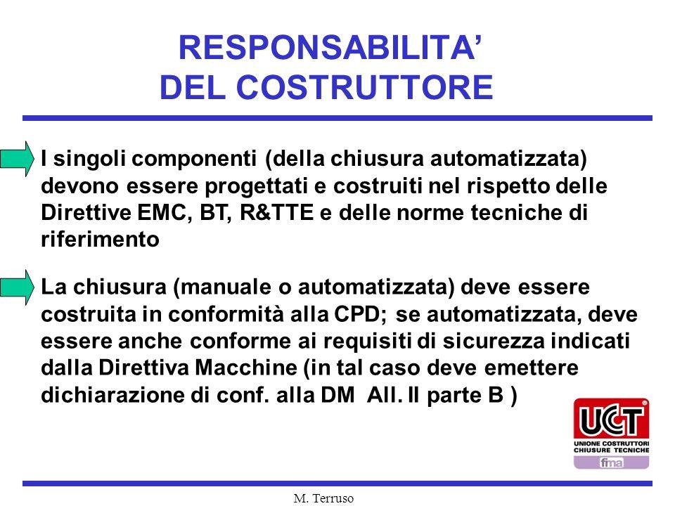 M. Terruso RESPONSABILITA DEL COSTRUTTORE I singoli componenti (della chiusura automatizzata) devono essere progettati e costruiti nel rispetto delle