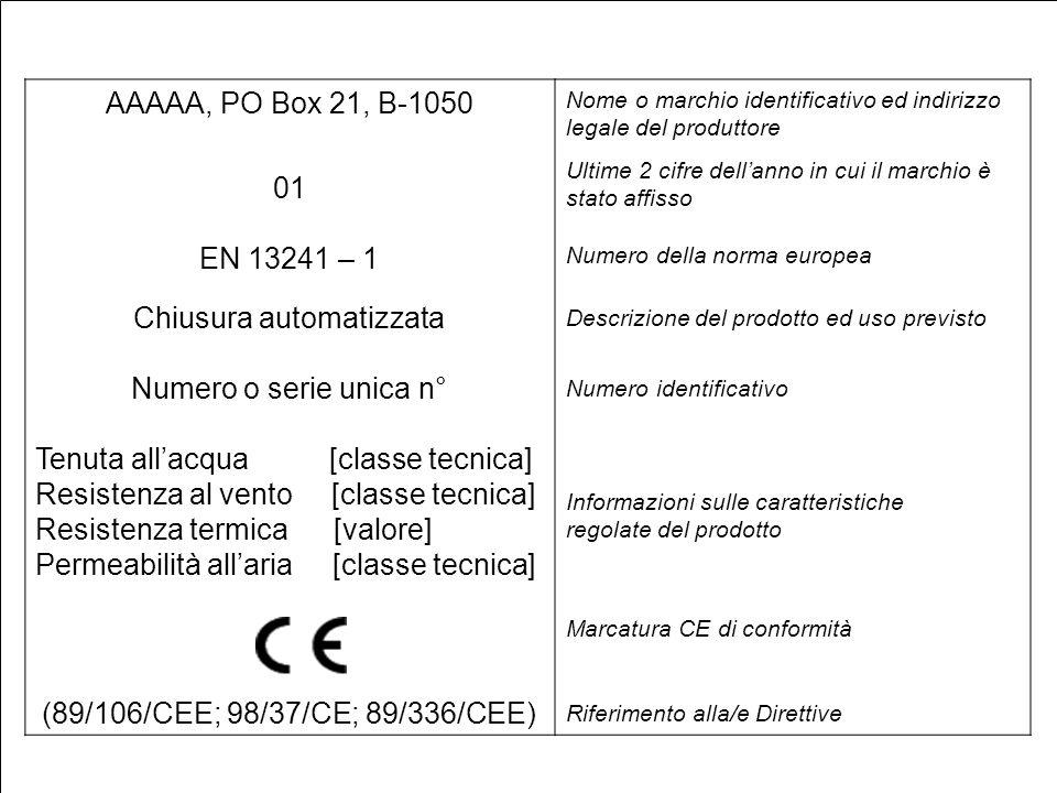 M. Terruso AAAAA, PO Box 21, B-1050 01 EN 13241 – 1 Chiusura automatizzata Numero o serie unica n° Tenuta allacqua [classe tecnica] Resistenza al vent
