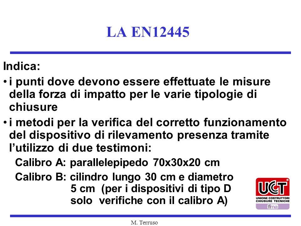 M. Terruso LA EN12445 Indica: i punti dove devono essere effettuate le misure della forza di impatto per le varie tipologie di chiusure i metodi per l