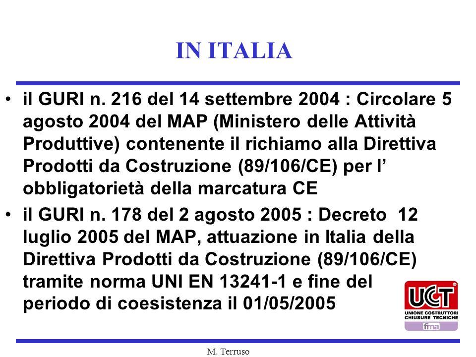 M. Terruso IN ITALIA il GURI n. 216 del 14 settembre 2004 : Circolare 5 agosto 2004 del MAP (Ministero delle Attività Produttive) contenente il richia