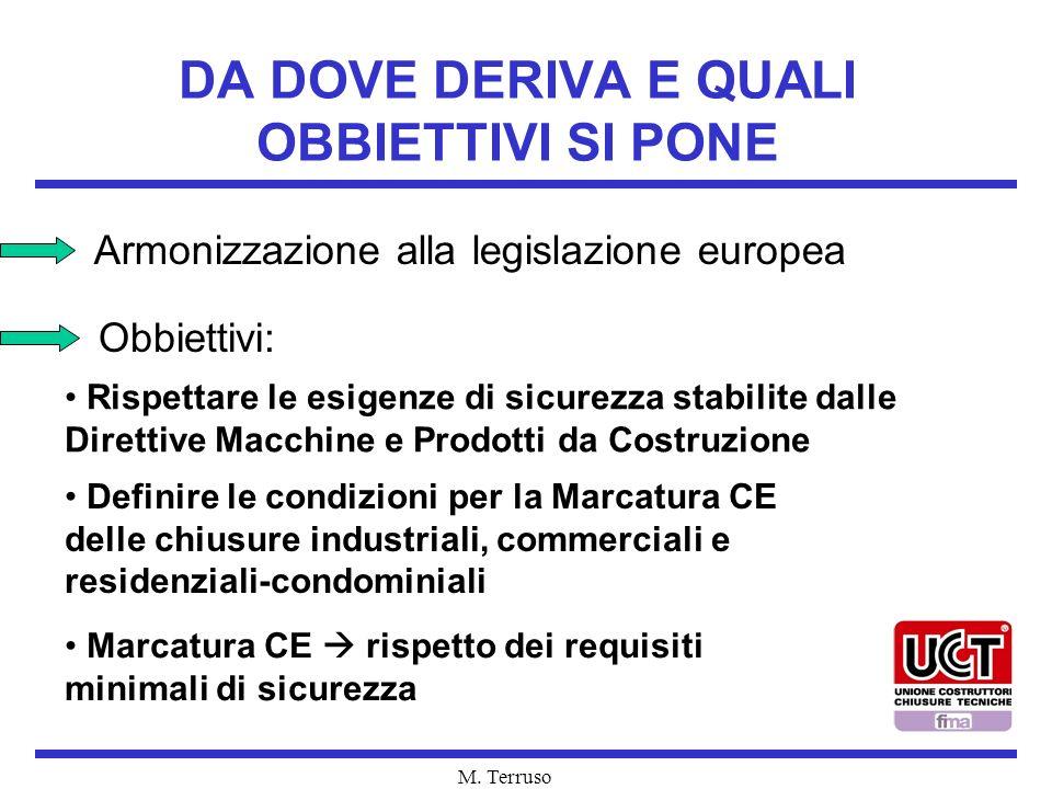 M. Terruso DA DOVE DERIVA E QUALI OBBIETTIVI SI PONE Armonizzazione alla legislazione europea Obbiettivi: Rispettare le esigenze di sicurezza stabilit