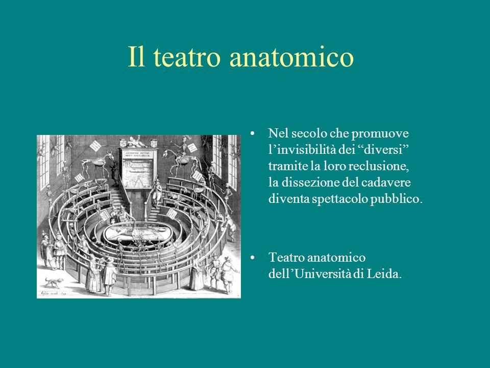 Il teatro anatomico Nel secolo che promuove linvisibilità dei diversi tramite la loro reclusione, la dissezione del cadavere diventa spettacolo pubbli