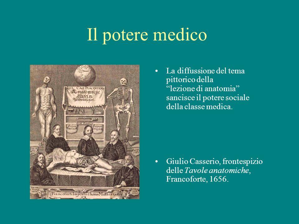 Il potere medico La diffussione del tema pittorico della lezione di anatomia sancisce il potere sociale della classe medica. Giulio Casserio, frontesp
