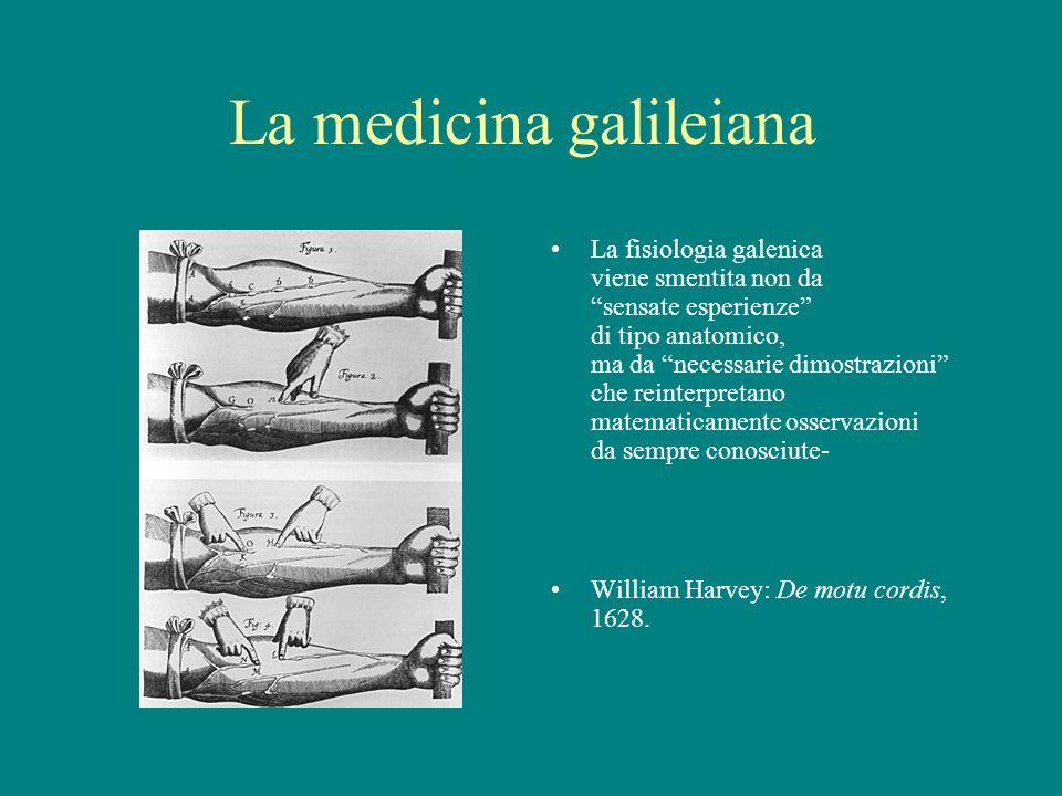 La medicina galileiana La fisiologia galenica viene smentita non da sensate esperienze di tipo anatomico, ma da necessarie dimostrazioni che reinterpr