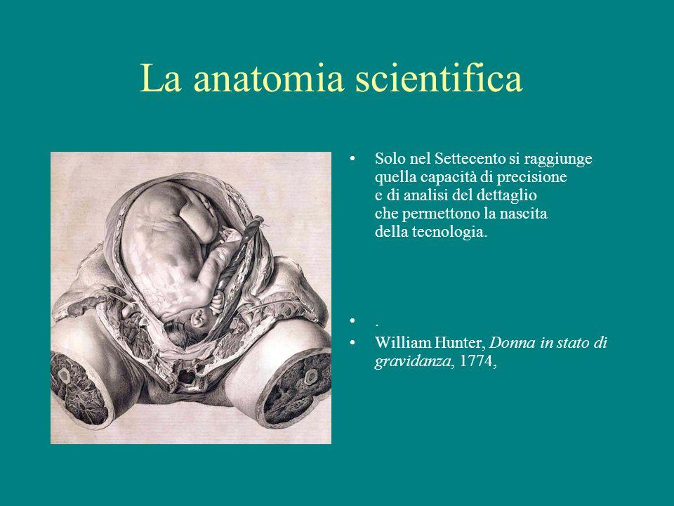 La anatomia scientifica Solo nel Settecento si raggiunge quella capacità di precisione e di analisi del dettaglio che permettono la nascita della tecn