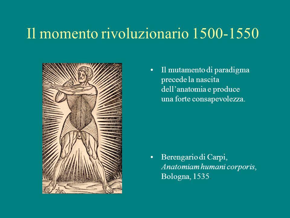 Il momento rivoluzionario 1500-1550 Il mutamento di paradigma precede la nascita dellanatomia e produce una forte consapevolezza. Berengario di Carpi,