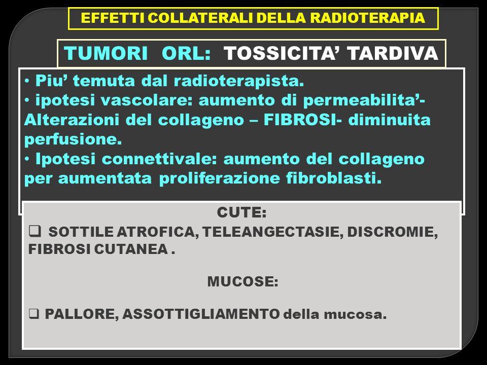 Piu temuta dal radioterapista. ipotesi vascolare: aumento di permeabilita- Alterazioni del collageno – FIBROSI- diminuita perfusione. Ipotesi connetti