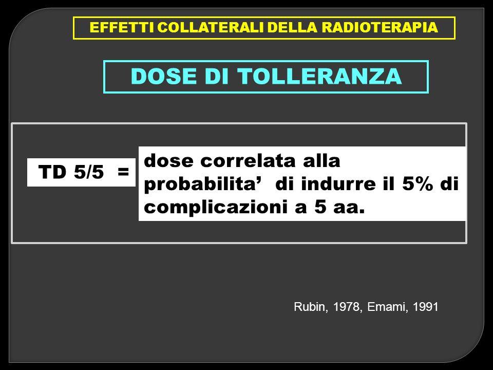 EFFETTI COLLATERALI DELLA RADIOTERAPIA DOSE DI TOLLERANZA TD 5/5 = dose correlata alla probabilita di indurre il 5% di complicazioni a 5 aa. Rubin, 19