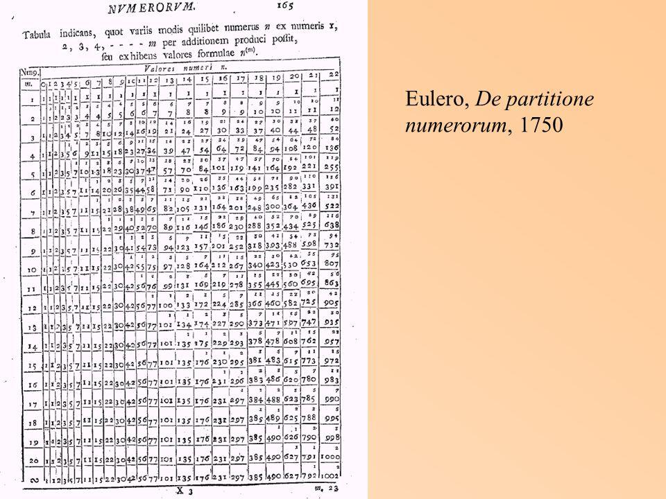 Eulero, De partitione numerorum, 1750