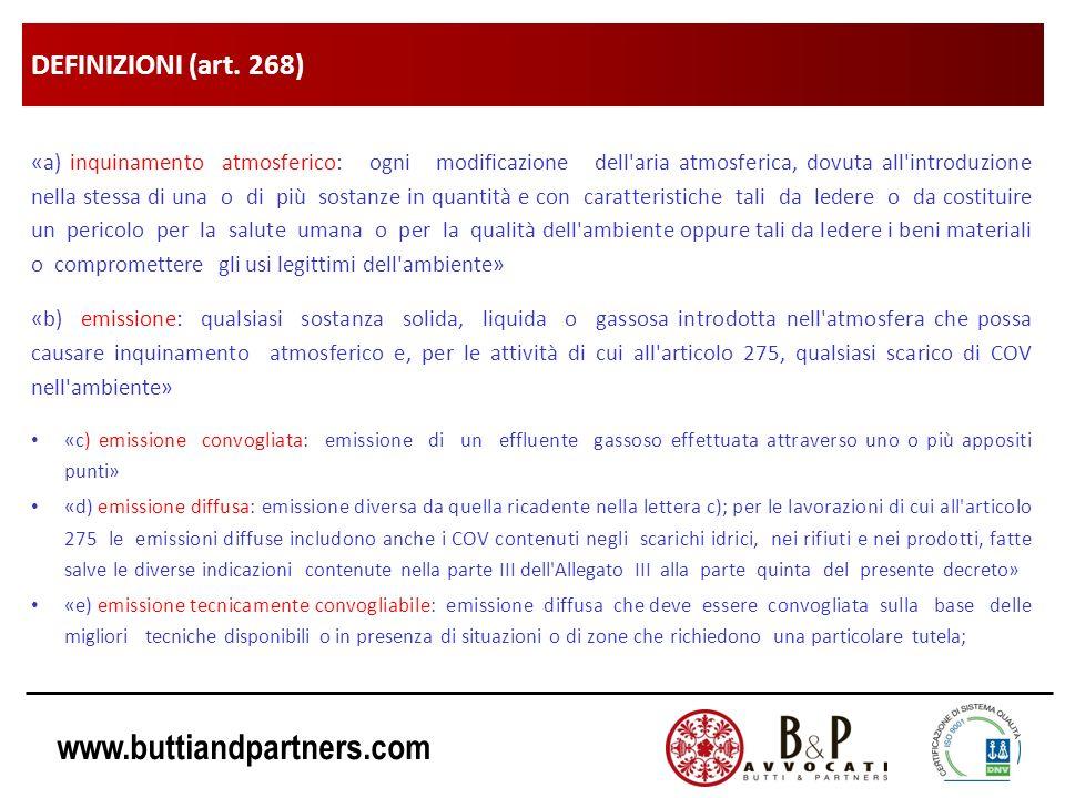www.buttiandpartners.com DEFINIZIONI (art. 268) «a) inquinamento atmosferico: ogni modificazione dell'aria atmosferica, dovuta all'introduzione nella