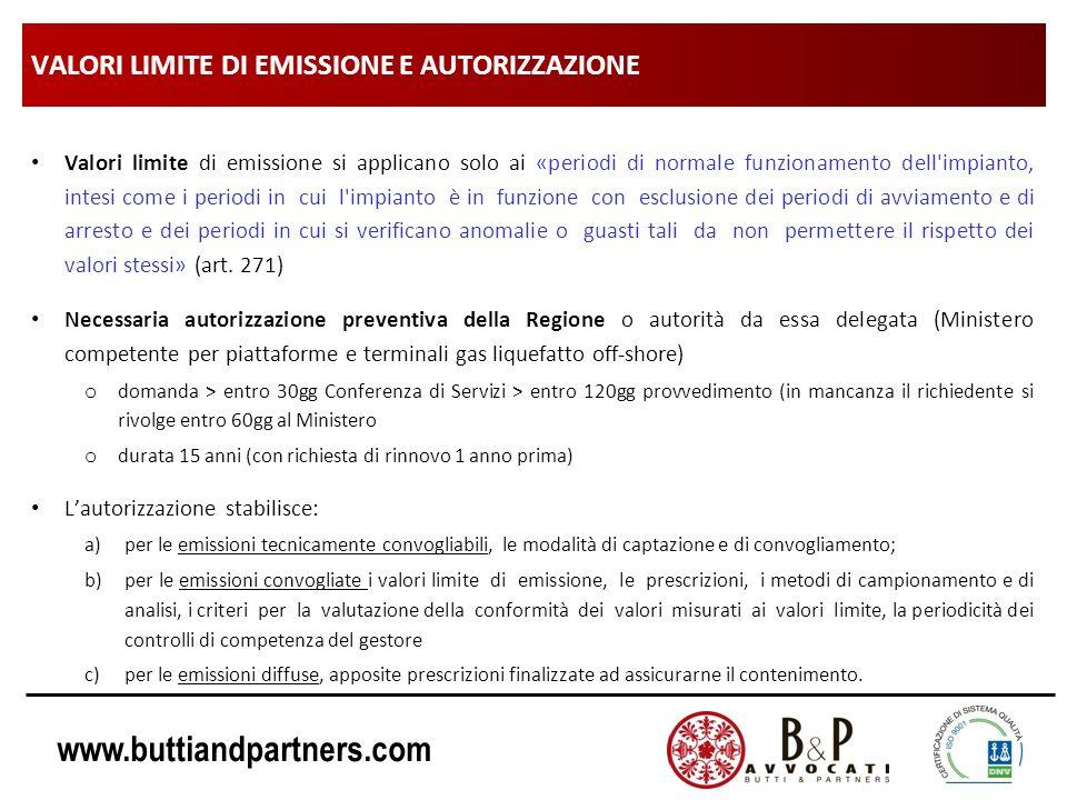 www.buttiandpartners.com VALORI LIMITE DI EMISSIONE E AUTORIZZAZIONE Valori limite di emissione si applicano solo ai «periodi di normale funzionamento