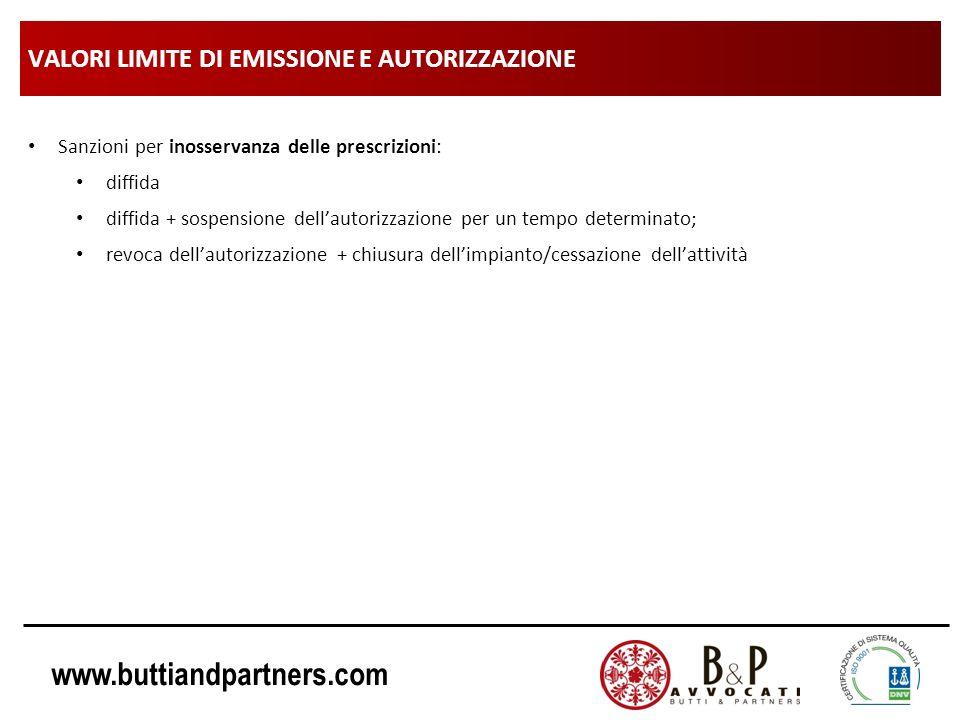 www.buttiandpartners.com VALORI LIMITE DI EMISSIONE E AUTORIZZAZIONE Sanzioni per inosservanza delle prescrizioni: diffida diffida + sospensione della
