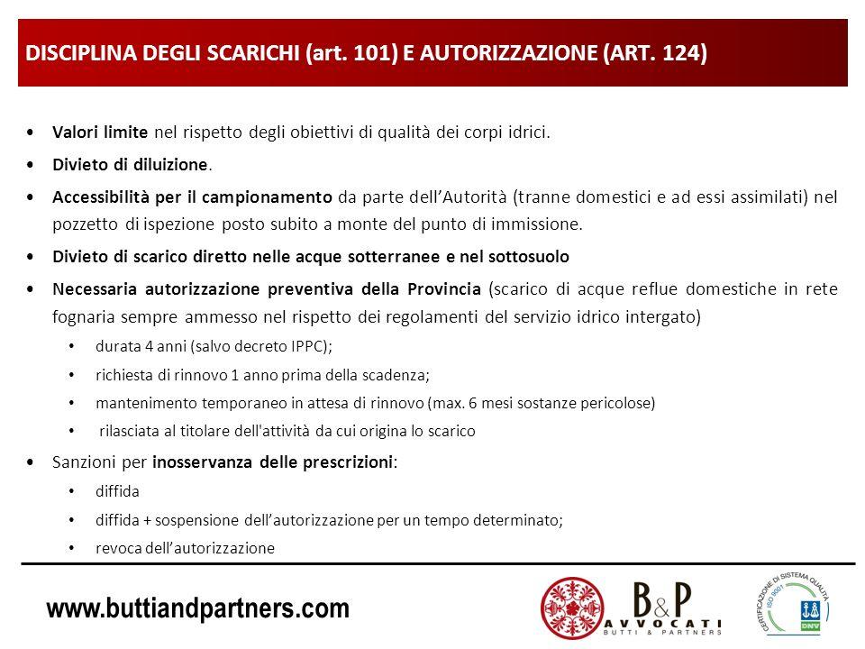 www.buttiandpartners.com DISCIPLINA DEGLI SCARICHI (art. 101) E AUTORIZZAZIONE (ART. 124) Valori limite nel rispetto degli obiettivi di qualità dei co