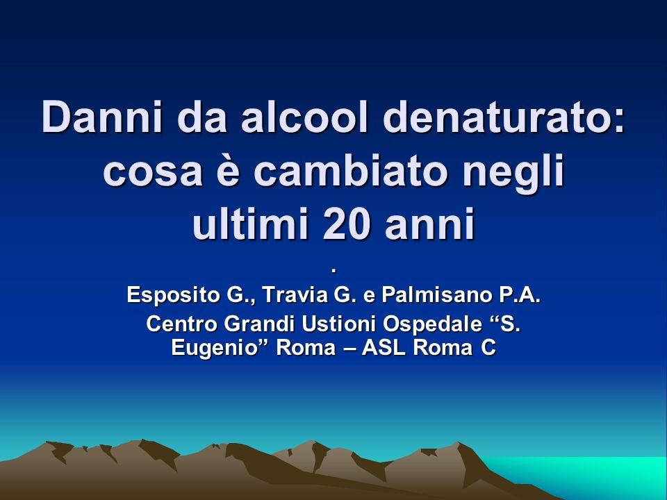 Danni da alcool denaturato: cosa è cambiato negli ultimi 20 anni. Esposito G., Travia G. e Palmisano P.A. Centro Grandi Ustioni Ospedale S. Eugenio Ro