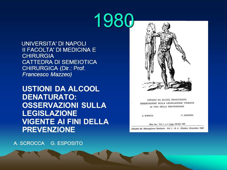 UNIVERSITA' DI NAPOLI II FACOLTA' DI MEDICINA E CHIRURGIA CATTEDRA DI SEMEIOTICA CHIRURGICA (Dir.: Prof. Francesco Mazzeo) USTIONI DA ALCOOL DENATURAT