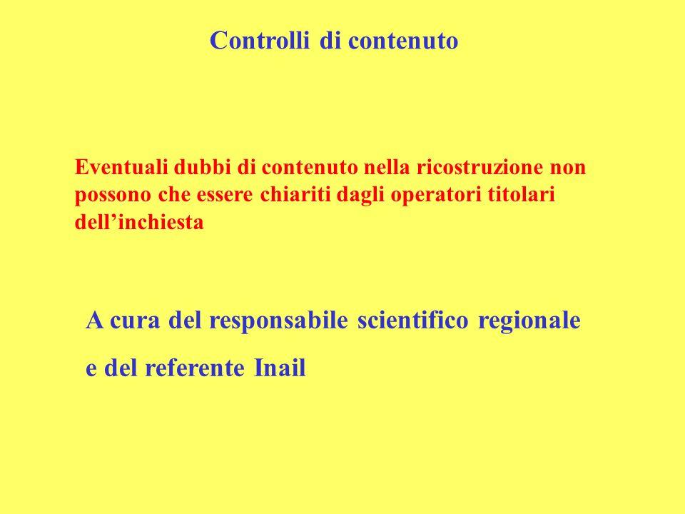 Eventuali dubbi di contenuto nella ricostruzione non possono che essere chiariti dagli operatori titolari dellinchiesta Controlli di contenuto A cura del responsabile scientifico regionale e del referente Inail
