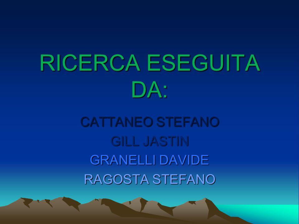 RICERCA ESEGUITA DA: CATTANEO STEFANO GILL JASTIN GRANELLI DAVIDE RAGOSTA STEFANO