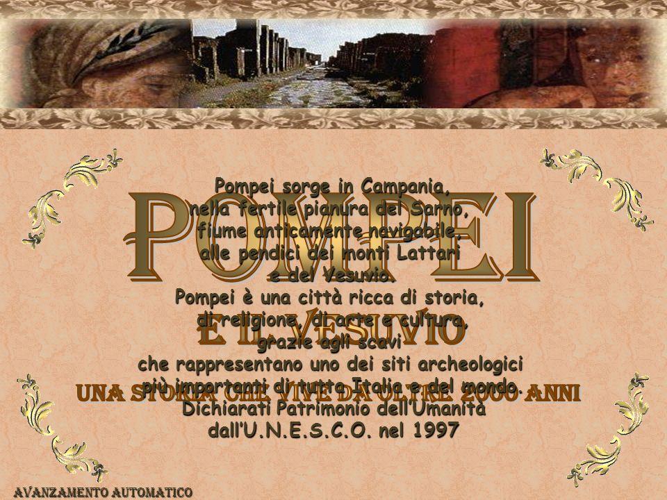 Pompei sorge in Campania, nella fertile pianura del Sarno, fiume anticamente navigabile, alle pendici dei monti Lattari e del Vesuvio.