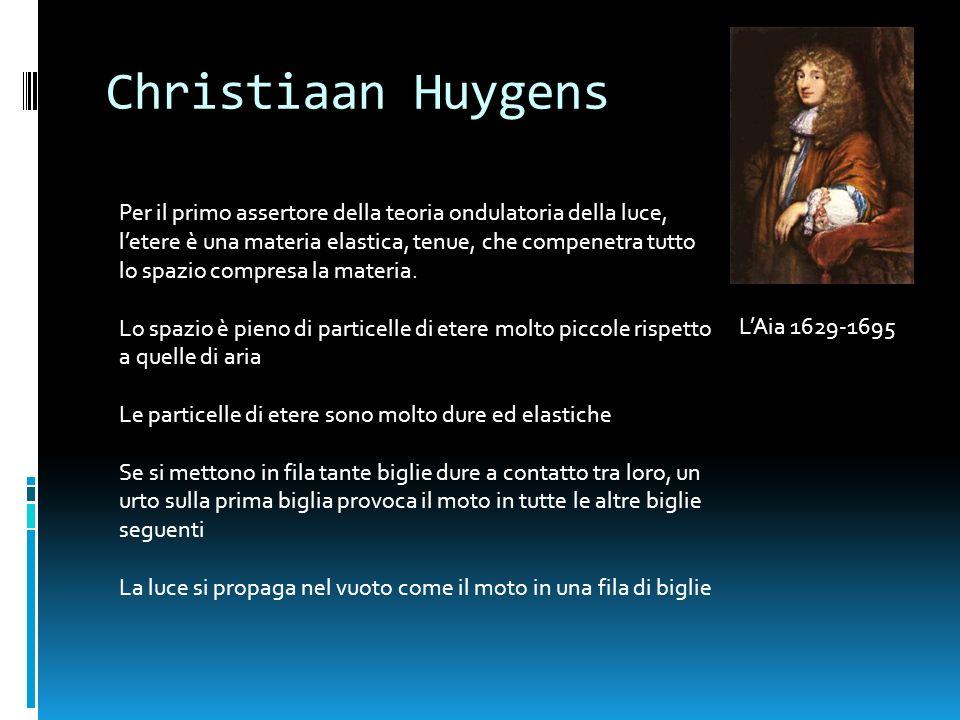 Christiaan Huygens LAia 1629-1695 Per il primo assertore della teoria ondulatoria della luce, letere è una materia elastica, tenue, che compenetra tut