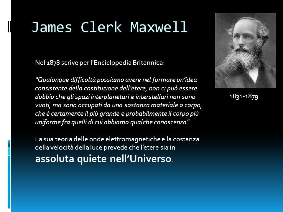 James Clerk Maxwell 1831-1879 Nel 1878 scrive per lEnciclopedia Britannica: Qualunque difficoltà possiamo avere nel formare unidea consistente della c