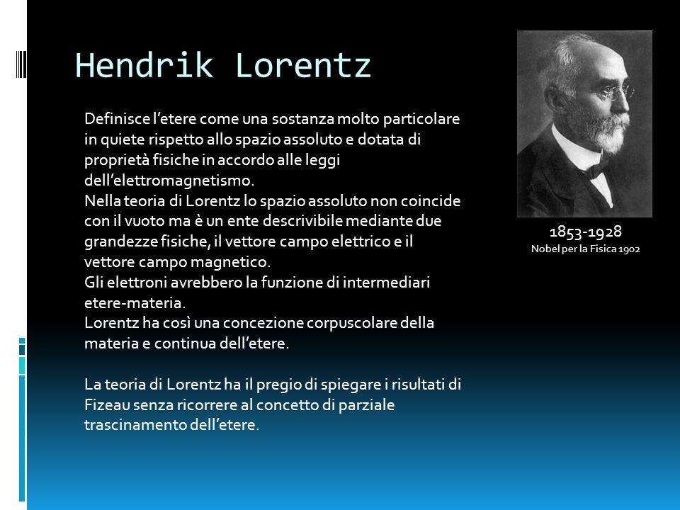 Hendrik Lorentz 1853-1928 Nobel per la Fisica 1902 Definisce letere come una sostanza molto particolare in quiete rispetto allo spazio assoluto e dota