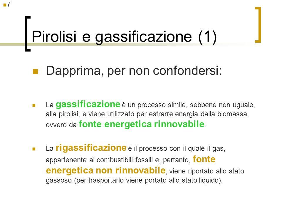 Pirolisi e gassificazione (1) Dapprima, per non confondersi: La gassificazione è un processo simile, sebbene non uguale, alla pirolisi, e viene utiliz