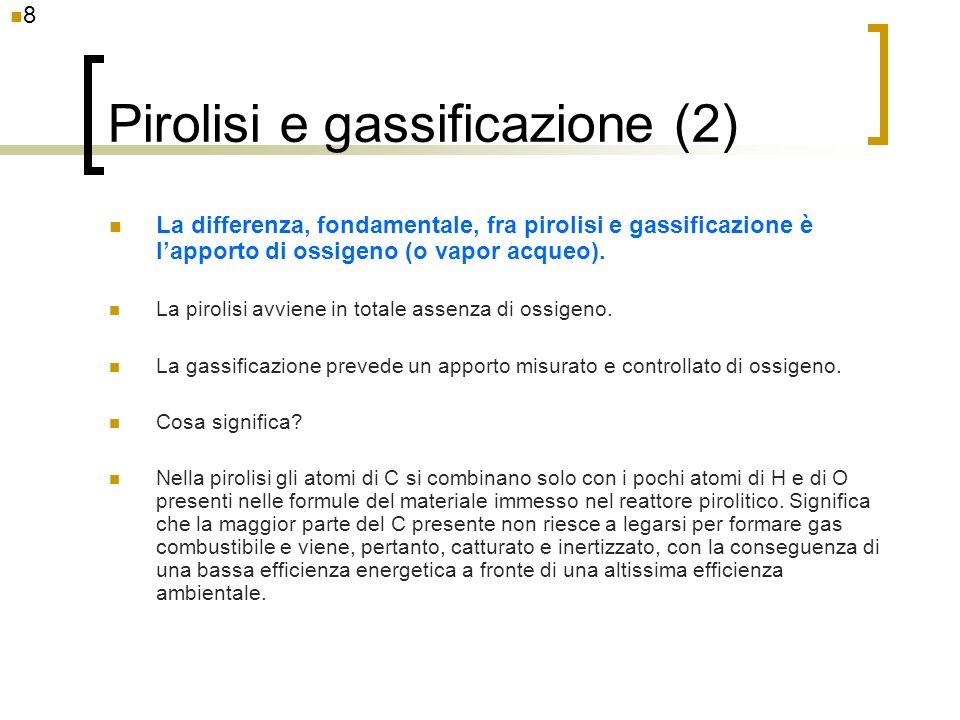 Pirolisi e gassificazione (2) La differenza, fondamentale, fra pirolisi e gassificazione è lapporto di ossigeno (o vapor acqueo). La pirolisi avviene