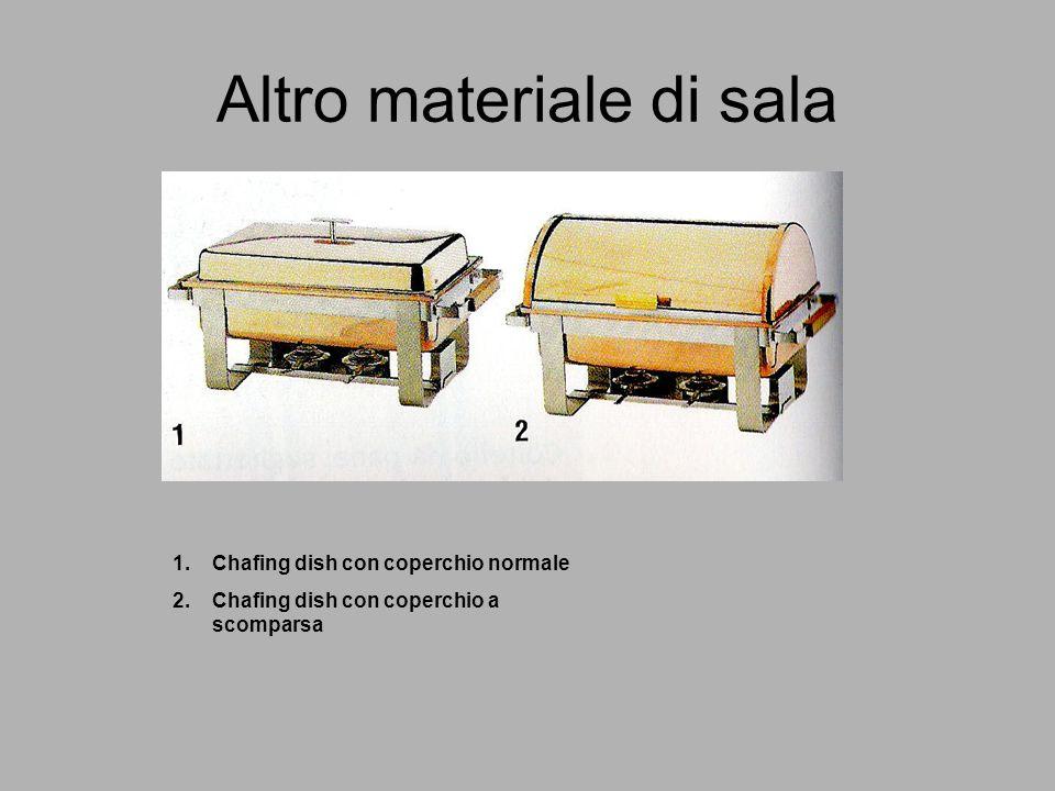 Altro materiale di sala 1.Chafing dish con coperchio normale 2.Chafing dish con coperchio a scomparsa