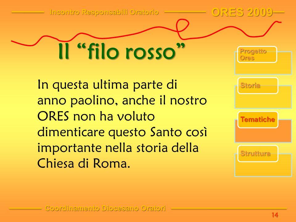 Il filo rosso In questa ultima parte di anno paolino, anche il nostro ORES non ha voluto dimenticare questo Santo così importante nella storia della Chiesa di Roma.