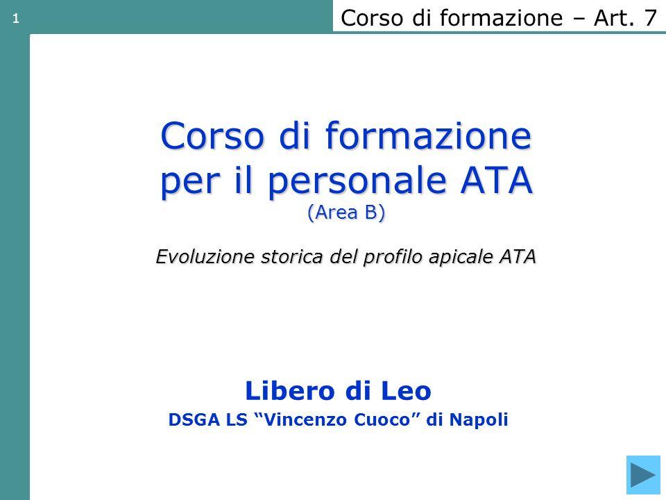 1 Corso di formazione per il personale ATA (Area B) Evoluzione storica del profilo apicale ATA Libero di Leo DSGA LS Vincenzo Cuoco di Napoli Corso di