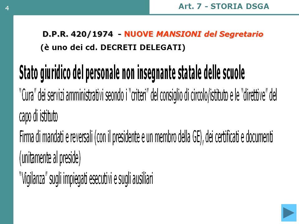 4 D.P.R. 420/1974 - NUOVE MANSIONI del Segretario (è uno dei cd. DECRETI DELEGATI) Art. 7 - STORIA DSGA