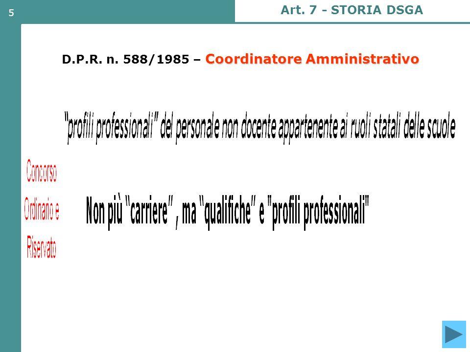 6 D.P.R.n. 588/1985- MANSIONI del Coordinatore Amm.vo D.P.R.