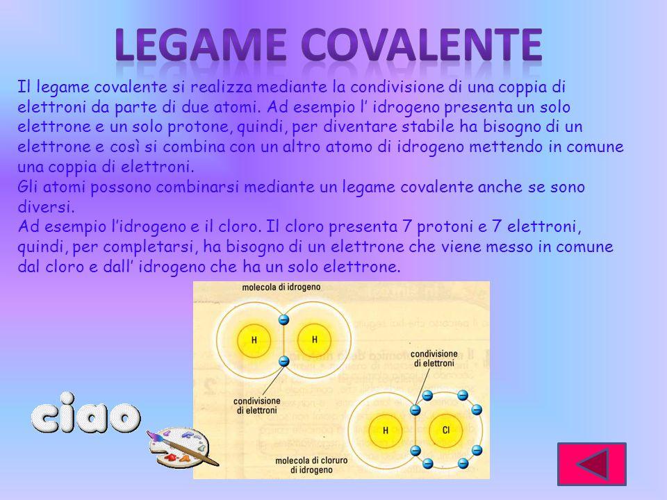 Il legame covalente si realizza mediante la condivisione di una coppia di elettroni da parte di due atomi. Ad esempio l idrogeno presenta un solo elet