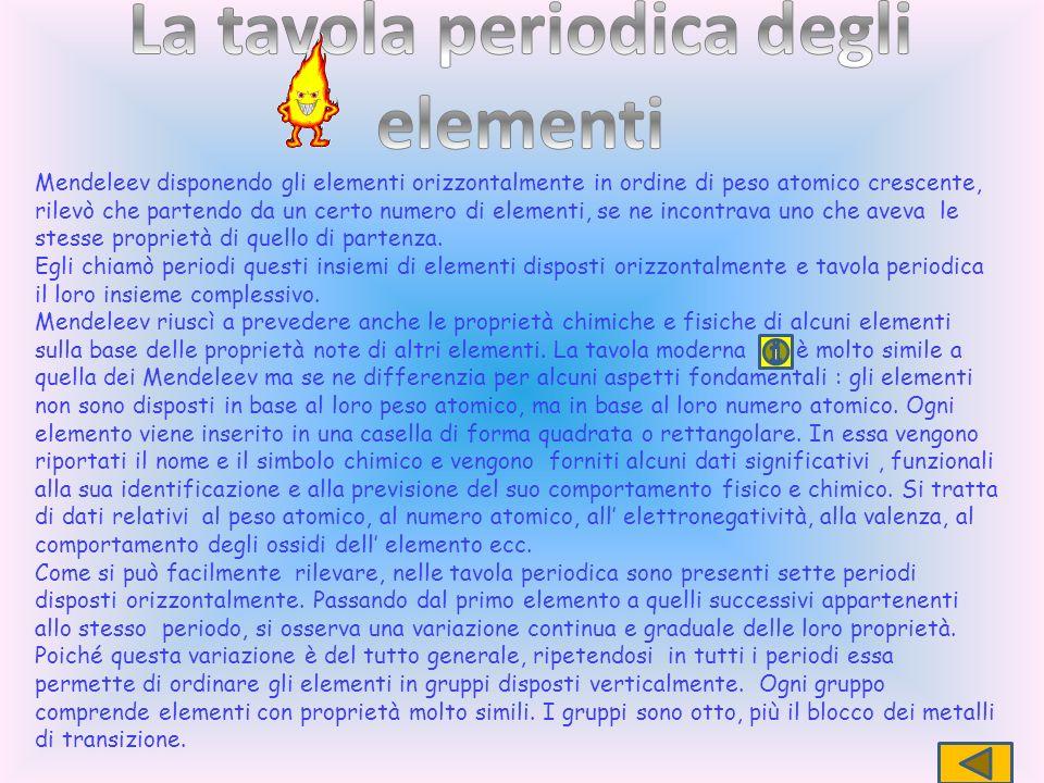 Mendeleev disponendo gli elementi orizzontalmente in ordine di peso atomico crescente, rilevò che partendo da un certo numero di elementi, se ne incon