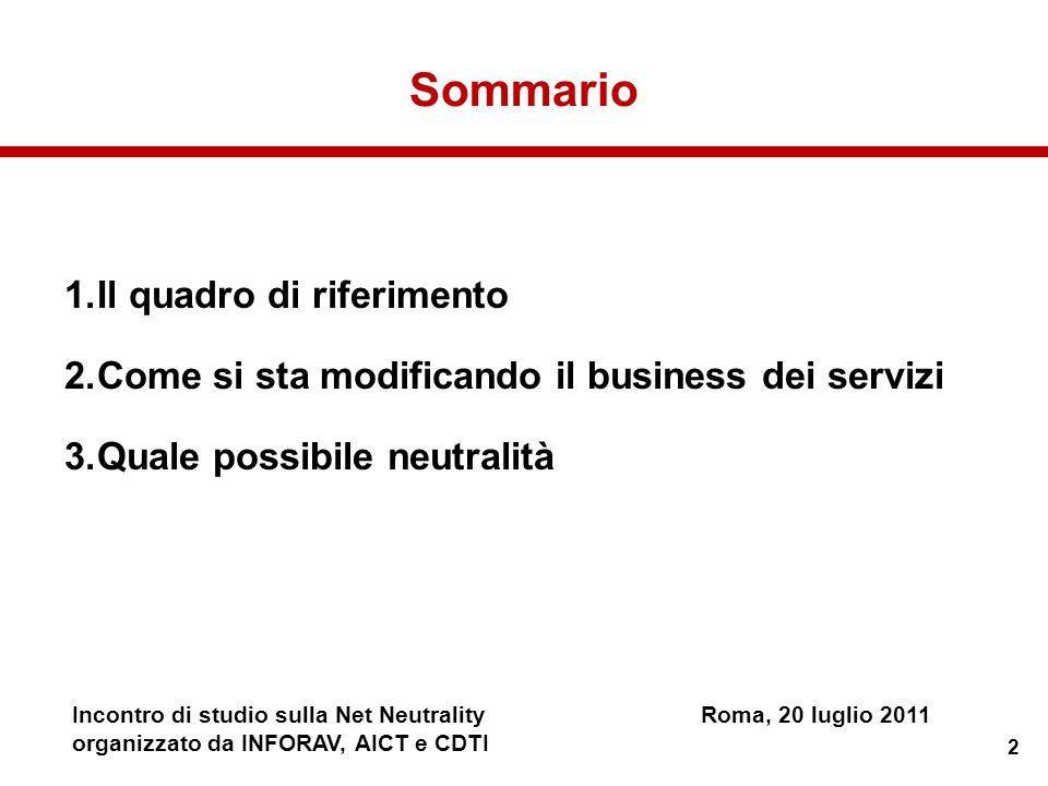 2 Incontro di studio sulla Net NeutralityRoma, 20 luglio 2011 organizzato da INFORAV, AICT e CDTI Sommario 1.Il quadro di riferimento 2.Come si sta mo