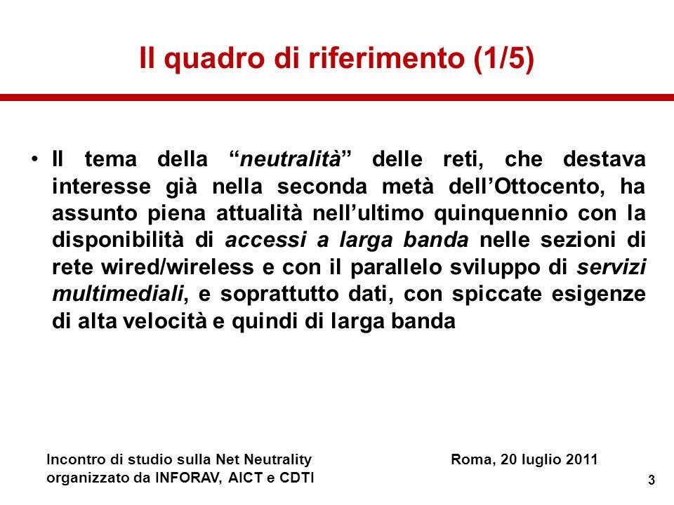 4 Incontro di studio sulla Net NeutralityRoma, 20 luglio 2011 organizzato da INFORAV, AICT e CDTI Il quadro di riferimento (2/5) Come ovvio, il tema è allattenzione degli organismi europei/nazionali per provvedimenti di natura regolatoria e, di conseguenza, degli operatori di rete, degli ISP, delle imprese manifatturiere e delle associazioni di consumatori.