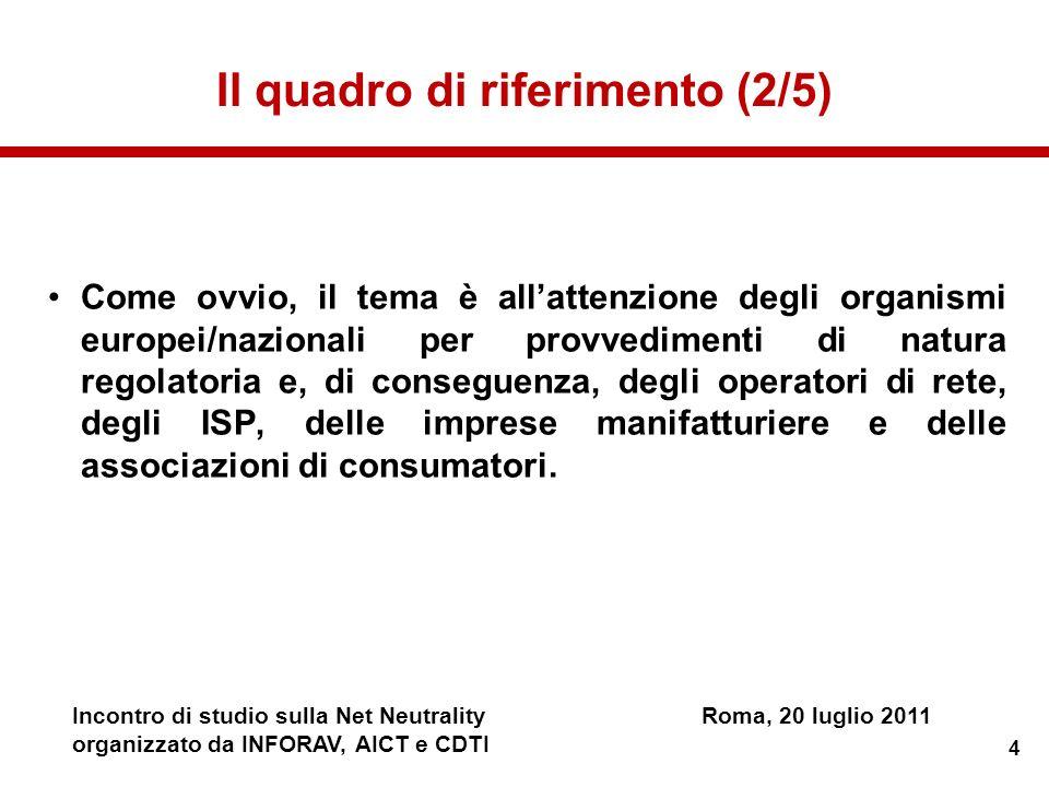 4 Incontro di studio sulla Net NeutralityRoma, 20 luglio 2011 organizzato da INFORAV, AICT e CDTI Il quadro di riferimento (2/5) Come ovvio, il tema è
