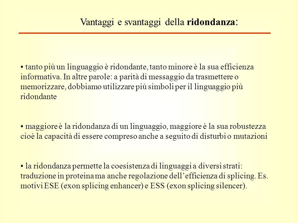 Vantaggi e svantaggi della ridondanza : tanto più un linguaggio è ridondante, tanto minore è la sua efficienza informativa.
