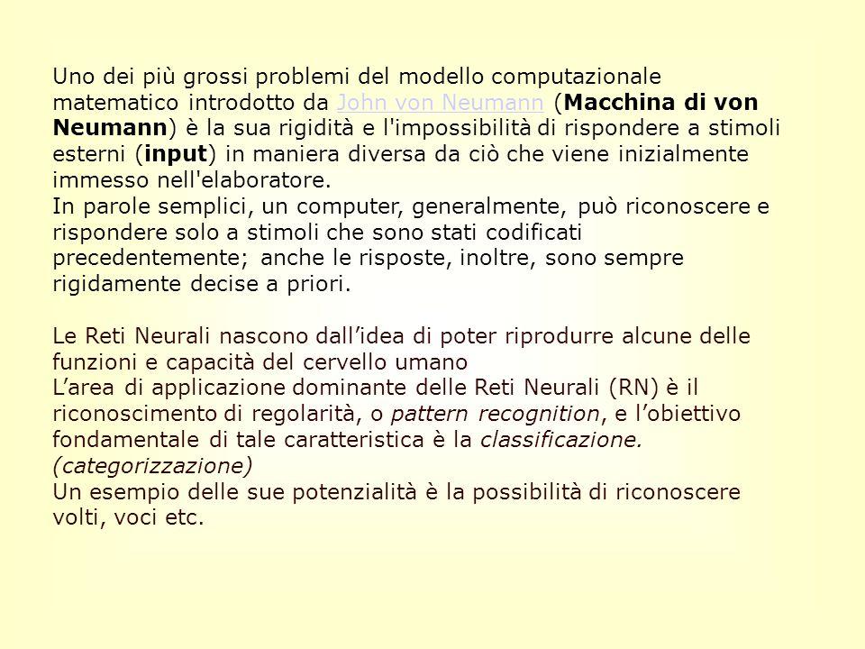 Uno dei più grossi problemi del modello computazionale matematico introdotto da John von Neumann (Macchina di von Neumann) è la sua rigidità e l impossibilità di rispondere a stimoli esterni (input) in maniera diversa da ciò che viene inizialmente immesso nell elaboratore.John von Neumann In parole semplici, un computer, generalmente, può riconoscere e rispondere solo a stimoli che sono stati codificati precedentemente; anche le risposte, inoltre, sono sempre rigidamente decise a priori.