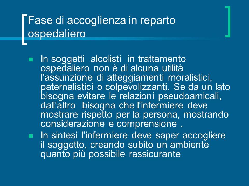 Fase di accoglienza in reparto ospedaliero In soggetti alcolisti in trattamento ospedaliero non è di alcuna utilità lassunzione di atteggiamenti moral