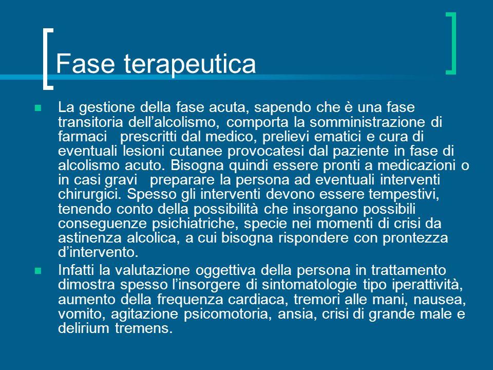 Fase terapeutica La gestione della fase acuta, sapendo che è una fase transitoria dellalcolismo, comporta la somministrazione di farmaci prescritti da