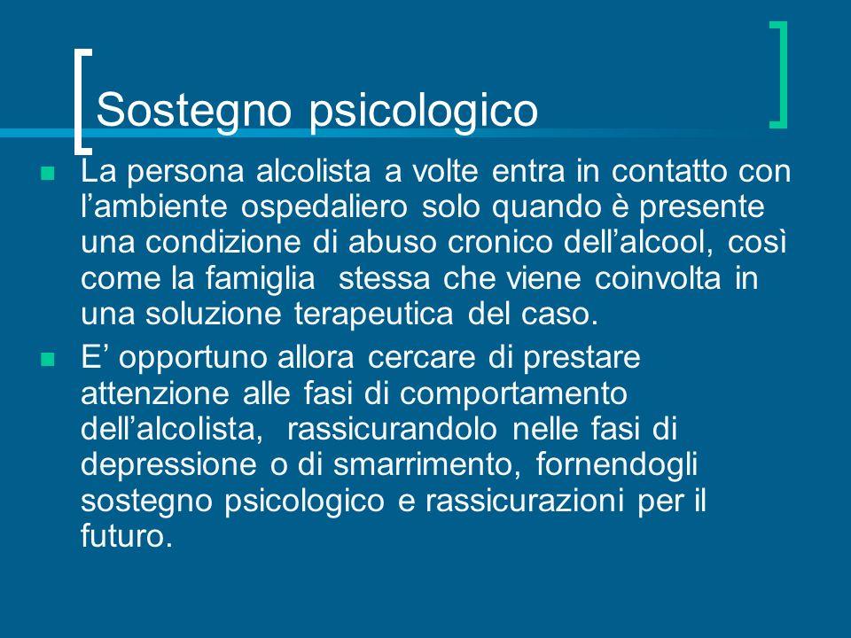 Sostegno psicologico La persona alcolista a volte entra in contatto con lambiente ospedaliero solo quando è presente una condizione di abuso cronico d