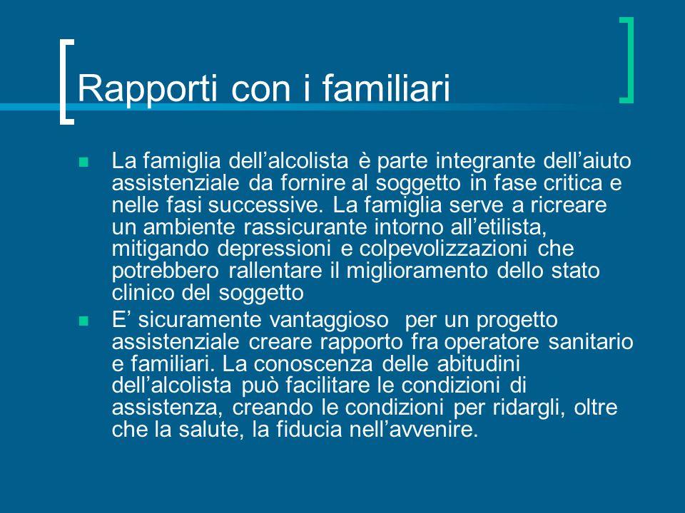 Rapporti con i familiari La famiglia dellalcolista è parte integrante dellaiuto assistenziale da fornire al soggetto in fase critica e nelle fasi succ