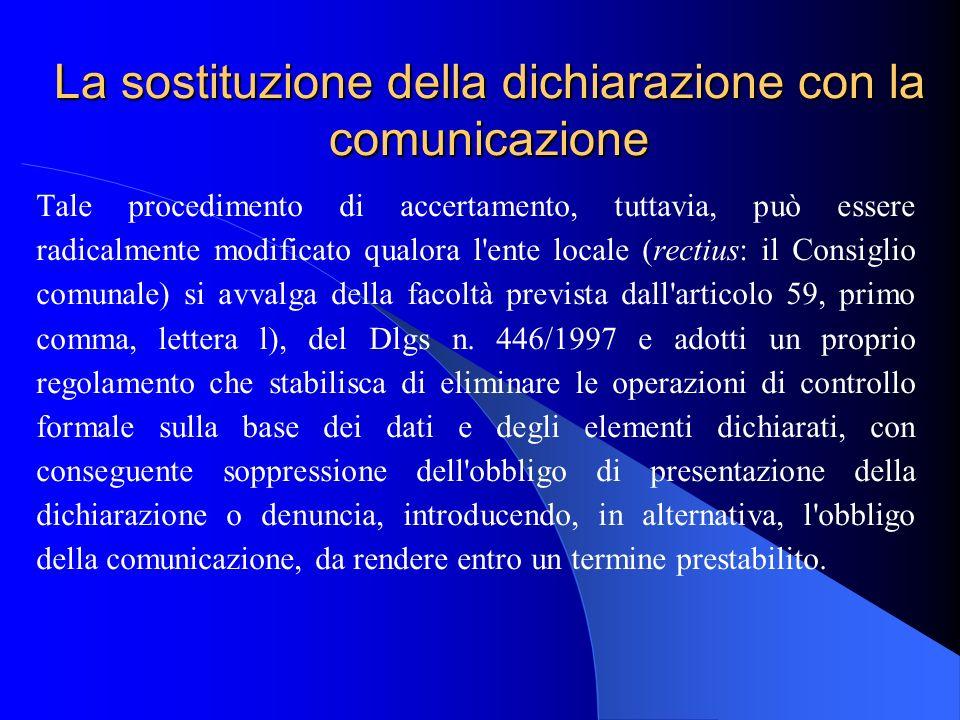 La sostituzione della dichiarazione con la comunicazione Tale procedimento di accertamento, tuttavia, può essere radicalmente modificato qualora l'ent