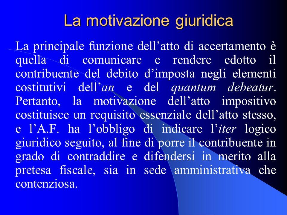 La motivazione giuridica La principale funzione dellatto di accertamento è quella di comunicare e rendere edotto il contribuente del debito dimposta n
