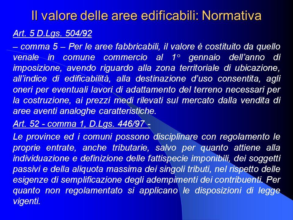 Il valore delle aree edificabili: Normativa Art. 5 D.Lgs. 504/92 – comma 5 – Per le aree fabbricabili, il valore è costituito da quello venale in comu